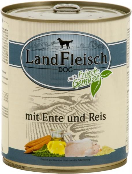 LandFleisch Hunde Dose Pur Ente + Reis mit Biogemüse 800g