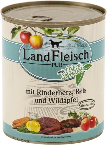 Landfleisch Pur Rinderherz, Reis & Wildapfel 800g