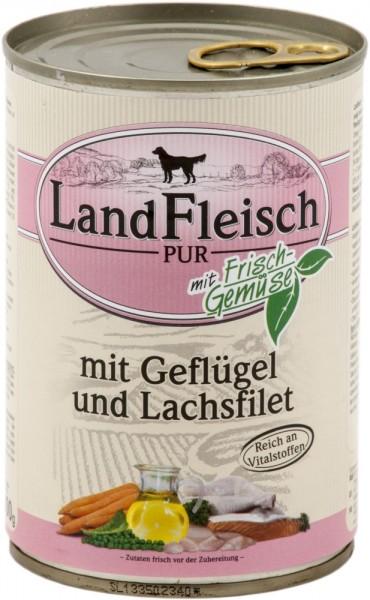 Landfleisch Dog Pur Geflügel & Lachsfilet 400g