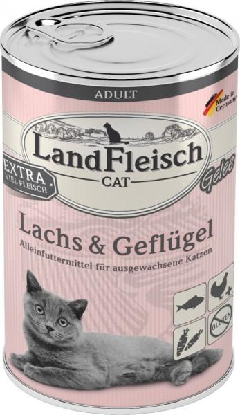 LandFleisch Cat Adult Gelee mit Lachs & Geflügel 400 g