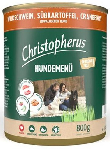 Christopherus Hundemenü -Adult - mit Wildschwein, Süßkart
