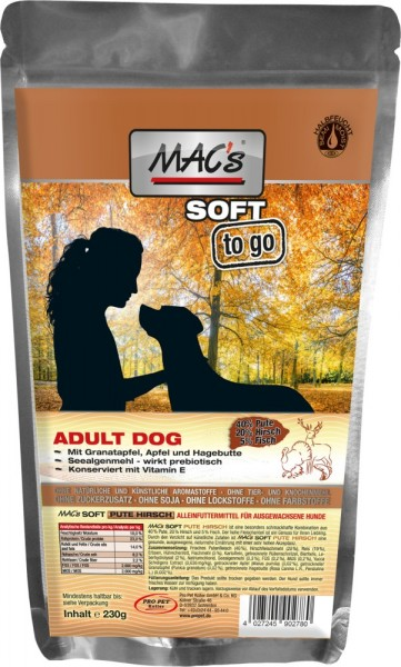 """MACs DOG Soft ""to go"" Pute & Hirsch 230g"""