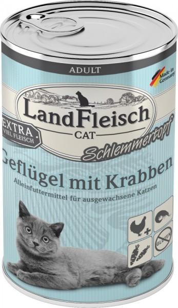 LandFleisch Cat Adult Schlemmertopf mit Geflügel & Krabbe