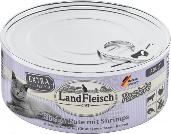 LandFleisch Cat Adult Pastete Rind+Pute+Shrimps 100g
