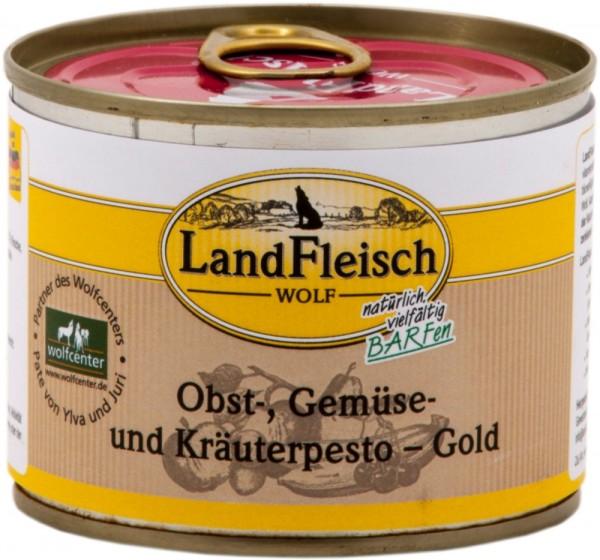 LandFleisch Hunde Dose Wolf Obst-, Gemüse und Kräuterpesto Gold 200g