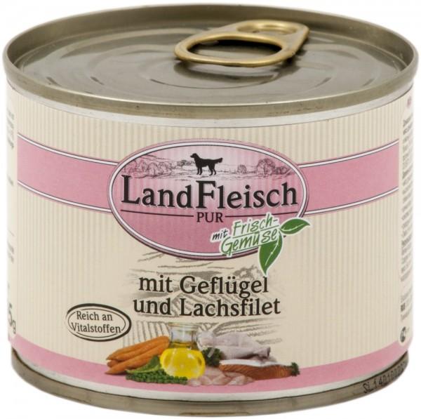 Landfleisch Dog Pur Geflügel&Lachsfilet 195g