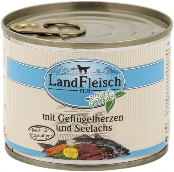 Landfleisch Dog Pur Geflügelherzen & Seelachs 195g