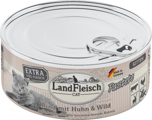 LandFleisch Cat Kitten Pastete Rind+Huhn+Wild 100g