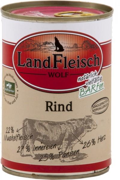 LandFleisch Hunde Dose Wolf 100% vom Rind 400g