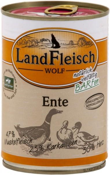LandFleisch Hunde Dose Wolf 100% von der Ente 400g