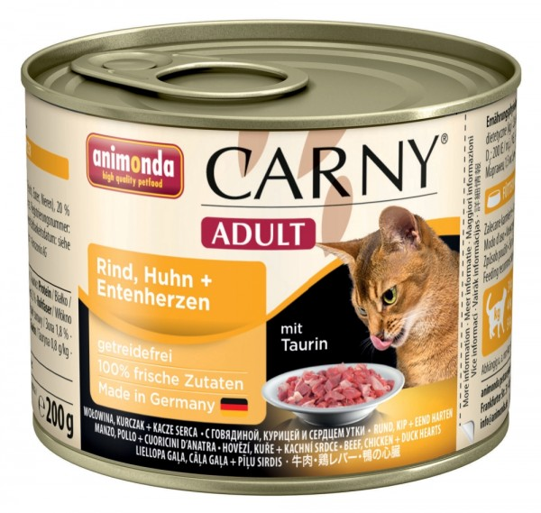 Animonda Cat Dose Carny Adult Rind & Huhn & Entenherzen 200g