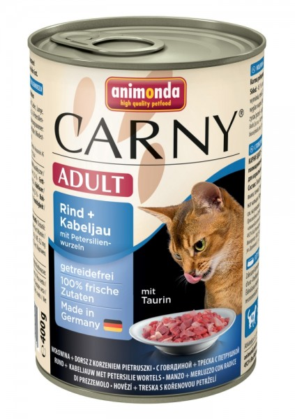 Animonda Cat Dose Carny Adult Rind & Kabeljau & Petersilienwurzeln 400g
